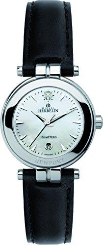 Michel Herbelin Damen-Armbanduhr 12856/19N Damen-Armband, Leder, Farbe: schwarz