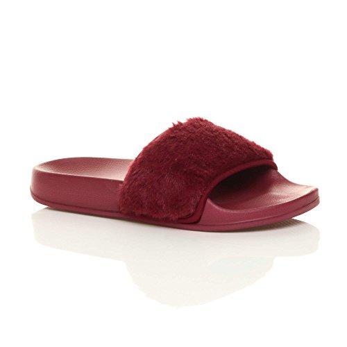 Ajvani Femmes Plat Fourrure Tongs Sandales Mules Claquettes Chaussons Pantoufles Pointure Rouge foncé