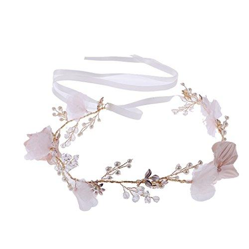 MagiDeal Gold Rebe Blume Stirnband Tiara Hochzeit Braut Kopfstück Mädchen Haare Zubehör