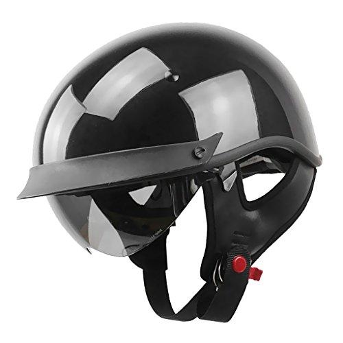 MagiDeal 1 Stück Motorradhelm Sturzhelm Halb Offener Hell Schwarz Helm Ofenes Gesicht Motorradfahren Halbhelm für Harley - Schwarz - L