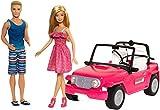 Barbie Voiture Beach Cruiser Décapotable de Plage Rose, Poupée Barbie et Ken Incluses, Jouet pour Enfant, CJD12