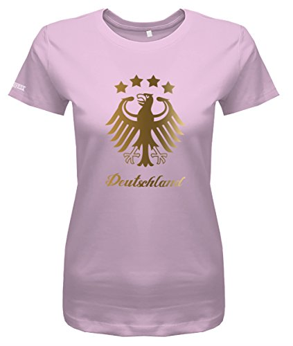 WM 2018 Deutschland Adler - 4 Sterne Gold - Damen T-Shirt in Rosa by Jayess Gr. S