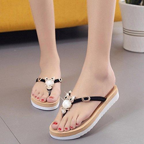 Transer ® Fashion femmes chouette décoration Peep-toe loisirs faible sandales tongs Noir