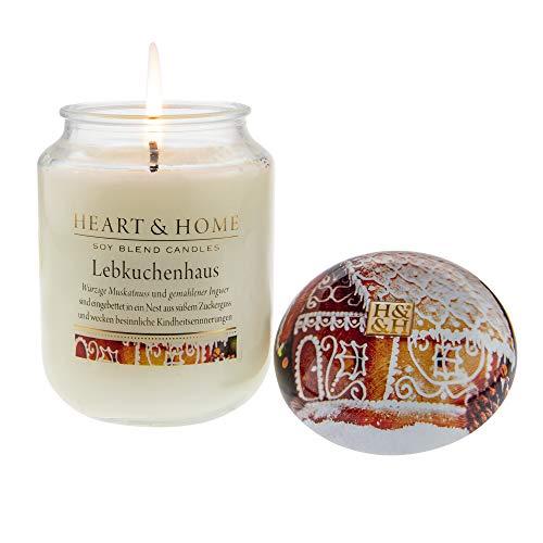 Heart & Home Duftkerze Lebkuchenhaus, besinnlicher Duft nach Vanillebohnen, gemahlenem Ingwer &...