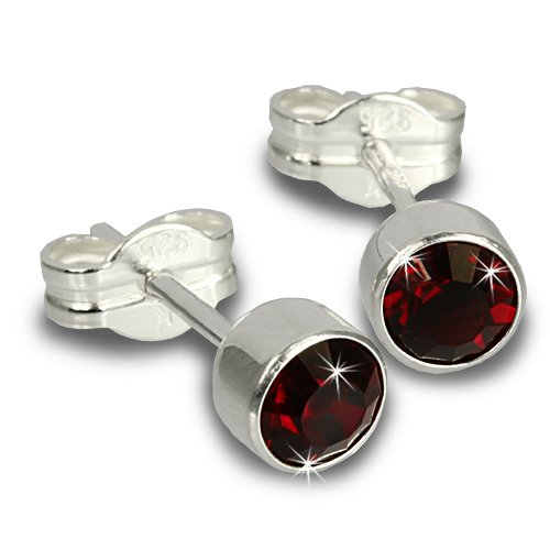 SilberDream Damen-Ohrringe Zirkonia dunkelrot 925 Silber Ohrstecker SDO503D