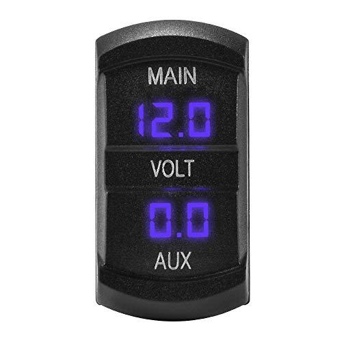 Kreema 12-24 V Auto Dual Voltmeter 3-stellige Blaue LED-anzeige Spannung Meter Batterie Monitor Halterung Panel Stecker für Marine Boot (Marine Monitor Battery)