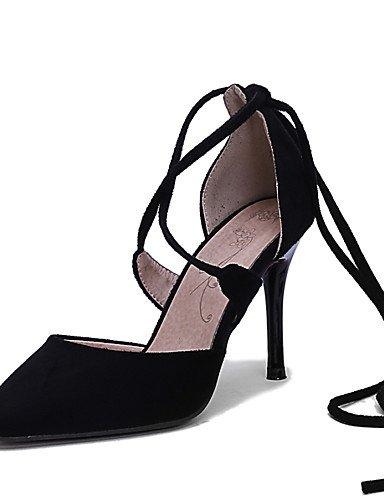 WSS 2016 Chaussures Femme-Bureau & Travail / Habillé / Soirée & Evénement-Noir / Rouge-Talon Aiguille-Talons-Talons-Laine synthétique black-us8 / eu39 / uk6 / cn39