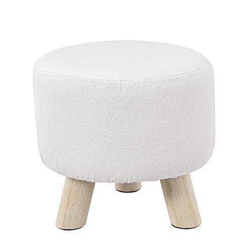 [en.casa]®] Taburete Redondo Puff Elegante Asiento tapizado Blanco Patas de Madera Estilo escandinavo