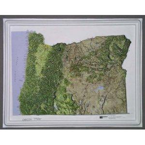 Oregon Reliefkarte NCR Stil mit Eiche Holz Rahmen