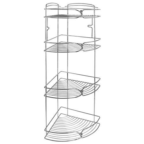 ASAB Chrom-Badezimmerzubehör mit modernem Design - Rollenhalter Ständer Duschregal Eckregal Ablagewagen - Starker verchromter Eisendraht, verchromt, 4 Tier Corner Rack -
