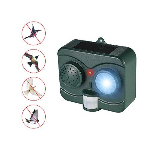 Decdeal Solar Vogelabwehr Tiervertreiber mit LED-Blinklicht, Schusswaffen und PIR Bewegungssensor