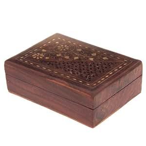 Fretwork palissandre bois coffret cadeau avec la fleur de marqueterie de 18cm