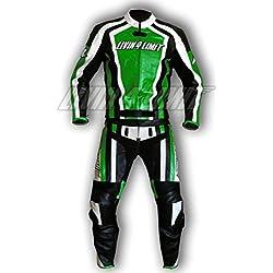 4LIMIT Sports 200100000605 Traje para Moto de Cuero, Verde/Negro / Blanco, L