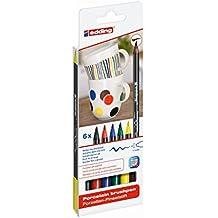 edding 4200 Porzellan-Pinselstift (auch für Glas und Keramik) - Standardfarben - Farb-Set mit 6 Farben - Porzellan-Brushpen zum Bemalen und Beschriften von Geschirr, Tassen und ofenfestem Glas - Fasermaler mit flexibler Pinselspitze: 1 - 4 mm