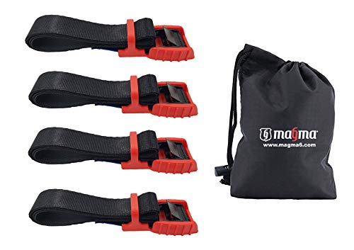 Magma Spanngurte | Mit Gummischnalle | Sichere Verladung von Kajak, Kanu, Gepäck, Surfboard, Fahrrad auf Dachgepäckträger | Schnelles Öffnen & Verzurren | Bruchfestigkeit 500kg | 1m-4 units
