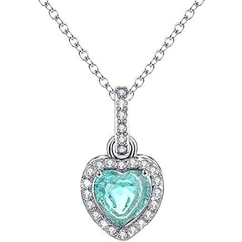 Cuore collana di diamanti Halo pendente della CZ Gioielli Birthstone per le donne L