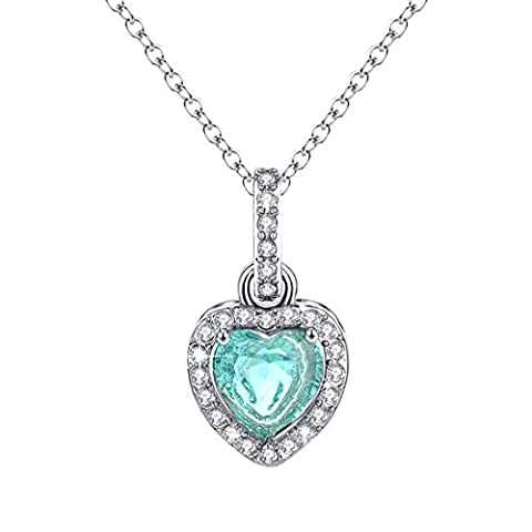 Heart Diamond Necklace Halo Turquoise Pendant December Birthstone Jewelry Christmas Gift for Women