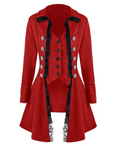 GladiolusA Donna Gothic Giacca Steampunk Tailcoat Cappotto per Costume Vittoriano Halloween Costume Bodeaux M