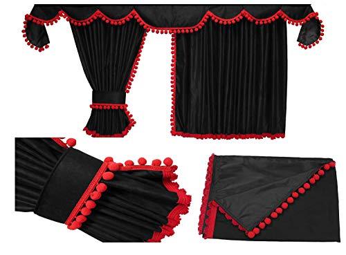 Adomo LKW Gardinen passgenau zum FH 4 in schwarz mit roten Pompoms/Kugel