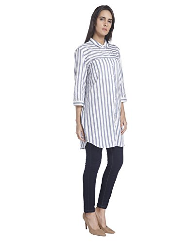 VERO MODA Damen Bluse Weiß (Snow White Stripes:BLACK THIN STRIPES)