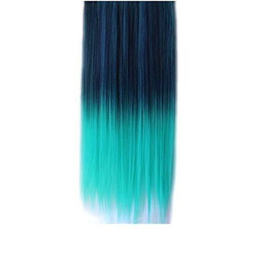Monkeybrother 1 Stück Neu modischen allmählich änderte Farben gerade synthetische Haare Clip-on Extension 60cm länge (dunkel blau zu grün)