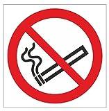 Anro Enseigne Non Fumeur | Panneaux d'interdiction de PVC Auto-adhésifs | 10 x 10 cm | Blanc