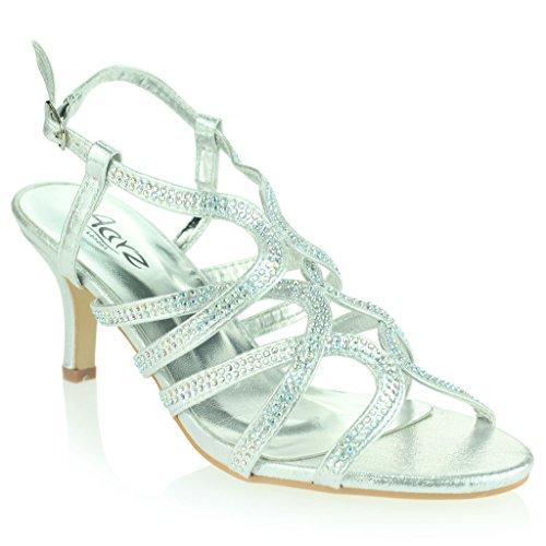 Femmes Dames Diamante Décoré Cage Sandales à Lanières Talon moyen Des Sandales Soir Fête Mariage Bal de Promo De Mariée Chaussures Taille Argent