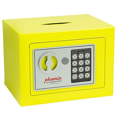 Phoenix SS0721EY Compact Home Office Minitresor Safe Möbeltresor, Gelb  HxBxT: 17 x 23 x 17 cm 3 kg