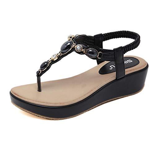 5e7340f5521db Women's Sandals Rhinestone Bohemian Buckle Wedge Large Size Comfort @  Black_42