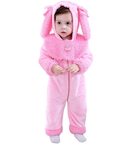 LOLANTA Kleinkind Mädchen Pinkie Pudel Welpen Kostüm Strampelanzug Fleece Hooded Strampler (6-9 Monate)