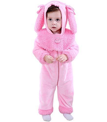 Kostüm Pudel Rosa Kind - LOLANTA Kleinkind Mädchen Pinkie Pudel Welpen Kostüm Strampelanzug Fleece Hooded Strampler (6-9 Monate)
