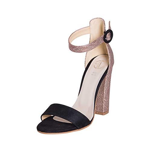 Sandali 2019 Größe Größe Größe 37 Schuh aus Camouflage, Schwarz und Regentropfen mit Karneol und Kinnriemen aus der Kaffe -