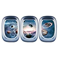 SUNNSEAN Aircraft Window Cosmic Creative Wall Sticker Mobile Creative Wall Affixed With Decorative Wall Decoration