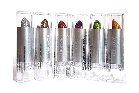 Lot 6 Rouge à lèvres glitter pailleté Argent / Cuivre / Rouge / Violet / Vert / Doré