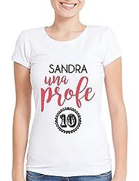 Calledelregalo Regalo para profesoras Personalizable: Camiseta Profe 10 Personalizada con su Nombre (