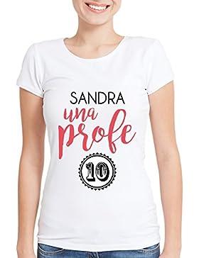 Calledelregalo Regalo para profesoras Personalizable: Camiseta 'Profe 10' Personalizada con su Nombre (Blanco)