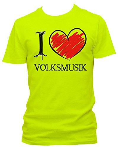 tees4low NEON Herren T-Shirt I love Volksmusik FUN NEON, Größe:L;Farbe:neon gelb