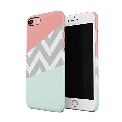 Mint and Coral Pink Chevron Blocks Dünne Rückschale aus Hartplastik für iPhone 7 & iPhone 8 Handy Hülle Schutzhülle Slim Fit Case Cover -