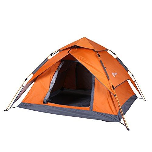 Sekey Automatik Camping Zelt Hydraulik | Wasserdichtes Außenzelt faltbar | Drei-Jahreszeiten-Familien-Dome-Zelt Instant Pop Up Zelt für 3-4 Person mit Tragetasche, 230 * 200 * 140cm, Orange