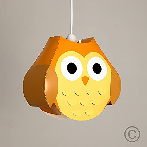Bunter oranger und gelber Lampenschirm in Form der Eule für Kinderzimmer – für Hänge- und Pendelleuchte