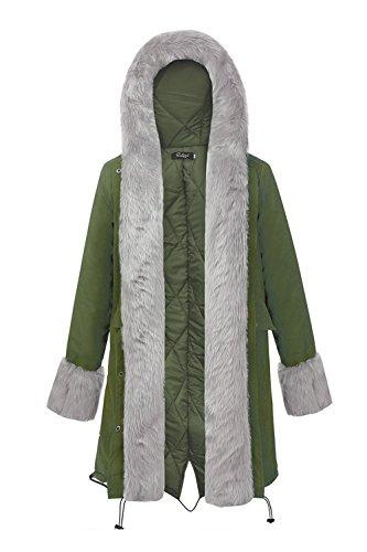 Les Femmes Chaudes Parkas D'hiver À Veste De Fausse Fourrure. Armygreen