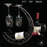 Yammucha Weinregal Weinflaschenregal Weinglashalter Hängendes Weinregal Dekoratives Weinregal (Color : Black)