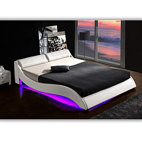 DI-LIFESTYLE Texas Weiss Doppelbett Polsterbett LED Unterbodenbeleuchtung Bett Lattenrost Kunstleder (160cm x 200cm)