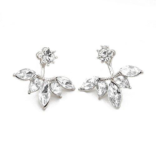 QHGstore Womens Kristallgänseblümchen-Blumen-Ohrringe nach hängenden Ohr-Bolzen-Schmucksache-Geschenken Silber-