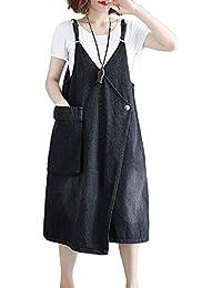 ZhuikunA Peto Vestidos Vaqueros Midi Mujer Casuales Bolsillos Sin Mangas Grandes  Tallas 43fa971212f