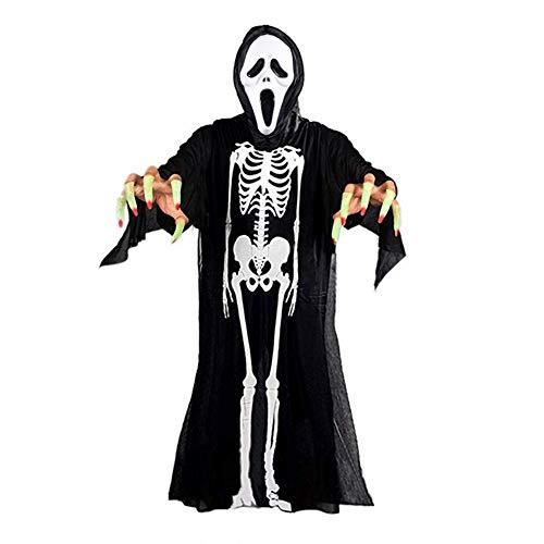AimodonR Halloween Skelett Kleid, Geist Kostüme Maske, Glühender Finger, 90cm