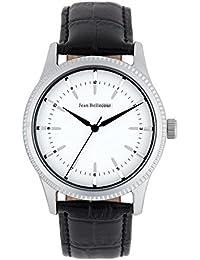 Reloj hombre JEAN Bellecour y pulsera de cuarzo esfera color blanco 42 mm negro piel jb1052