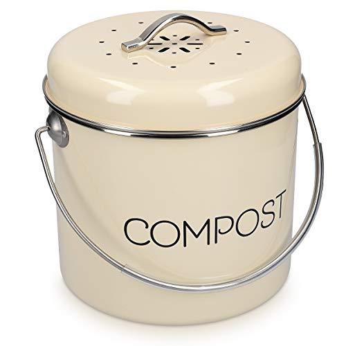 Navaris Poubelle à Compost 3L - Bac à Compost de Cuisine en Acier Inoxydable - Composteur de Cuisine pour Déchets Alimentaires - Filtre Charbon