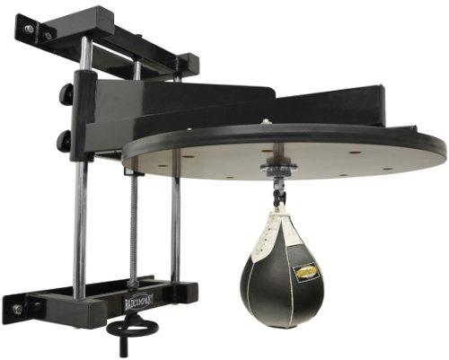 Deluxe Speedball Plattform Set inkl. Drehkugellagerung schwarz und Leder Boxbirne medium schwarz / Boxapparat für die Wandmontage BCA-38