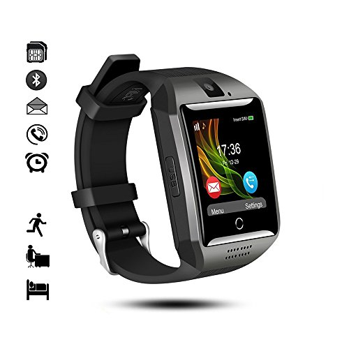 Bluetooth Smart Watch,IDEALBY iOS Android Smartphone Curved-Screen-Klok met Sim TF-kaartsleuf, camera, stappenteller, Slaap- monitor, melding voor iPhone, sumsang, Huawei, Sony, LG, zwart